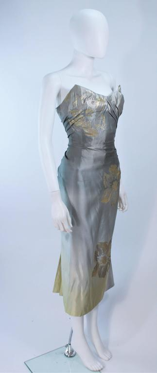 Vintage Gradient Pale Blue to Pale Yellow Draped Gown Size 0 4