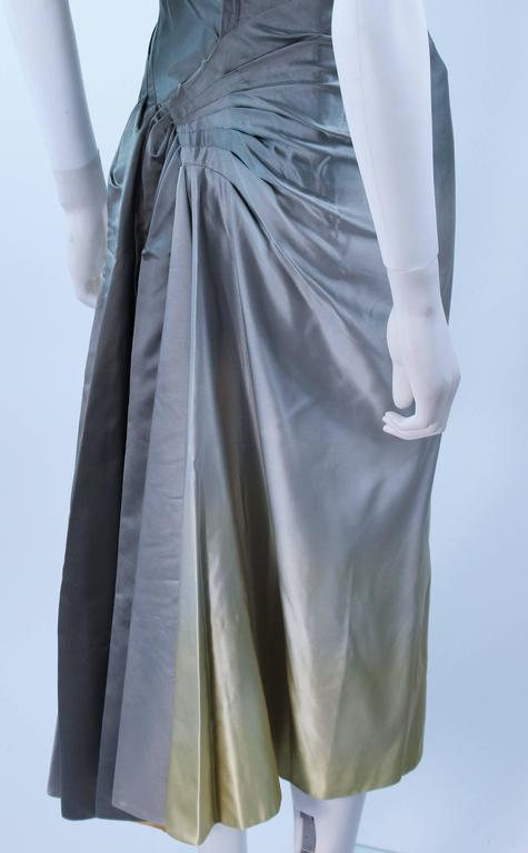 Vintage Gradient Pale Blue to Pale Yellow Draped Gown Size 0 10