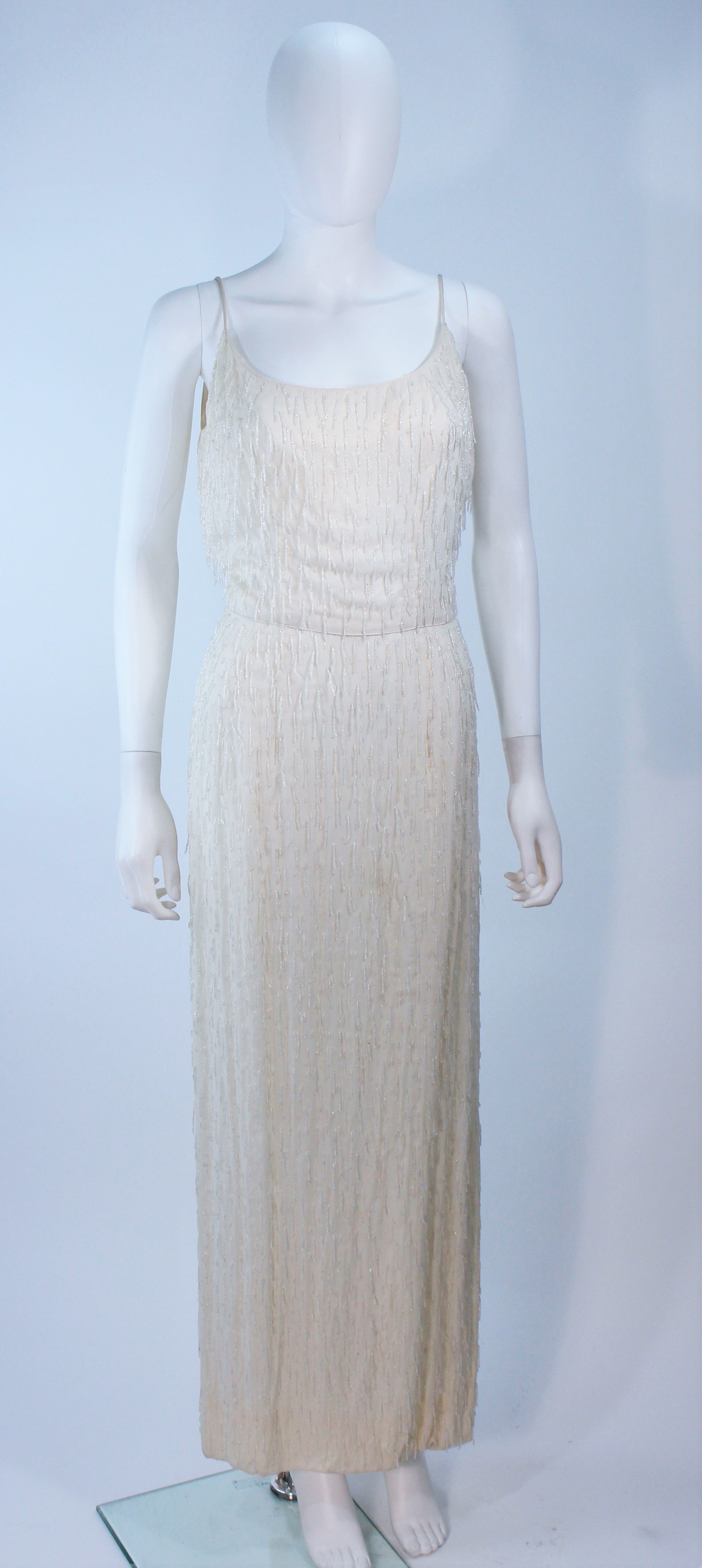 de324f0f376 White Vintage Beaded Fringe Gown with Bolero Size 10 For Sale at 1stdibs