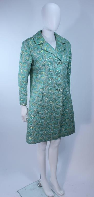 Aqua Metallic 1960's Brocade Coat with Beaded Buttons Size 6  5
