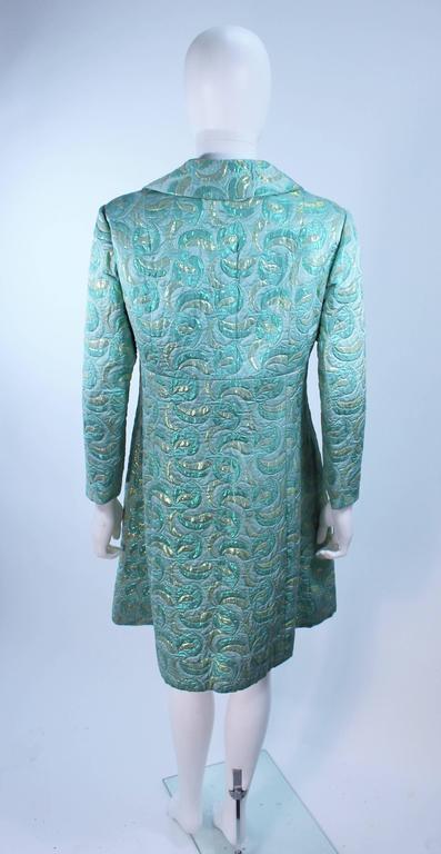 Aqua Metallic 1960's Brocade Coat with Beaded Buttons Size 6  9