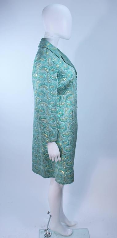 Aqua Metallic 1960's Brocade Coat with Beaded Buttons Size 6  7
