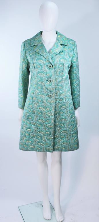 Aqua Metallic 1960's Brocade Coat with Beaded Buttons Size 6  2