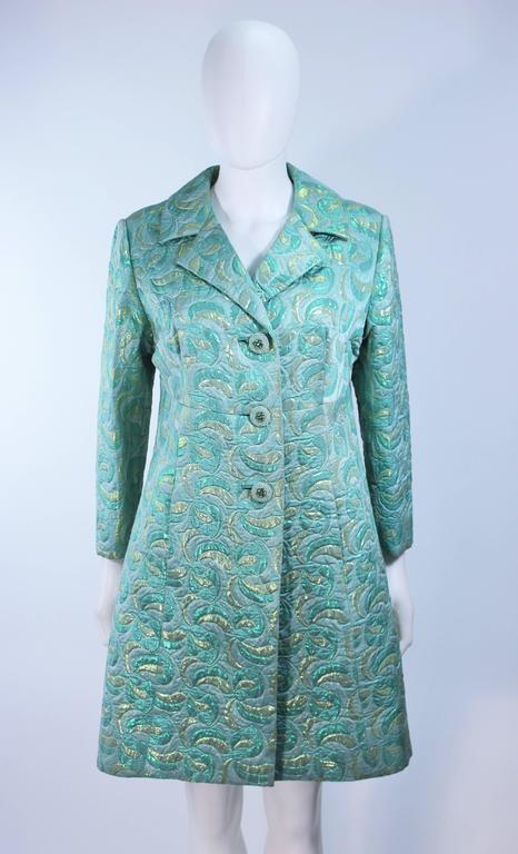 Aqua Metallic 1960's Brocade Coat with Beaded Buttons Size 6  3