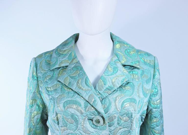 Aqua Metallic 1960's Brocade Coat with Beaded Buttons Size 6  4
