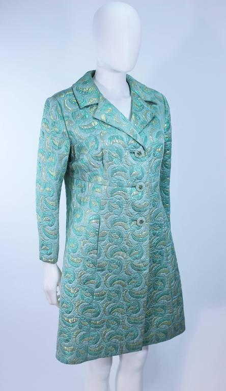 Aqua Metallic 1960's Brocade Coat with Beaded Buttons Size 6  6
