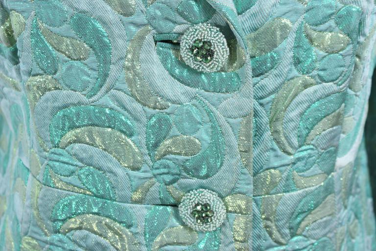 Aqua Metallic 1960's Brocade Coat with Beaded Buttons Size 6  10