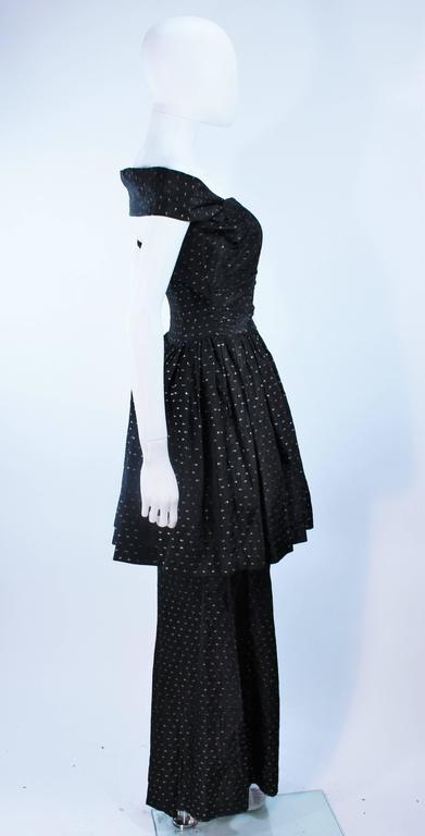 CEIL CHAPMAN Black & Gold Metallic Gown with Peplum Size 2 4 7