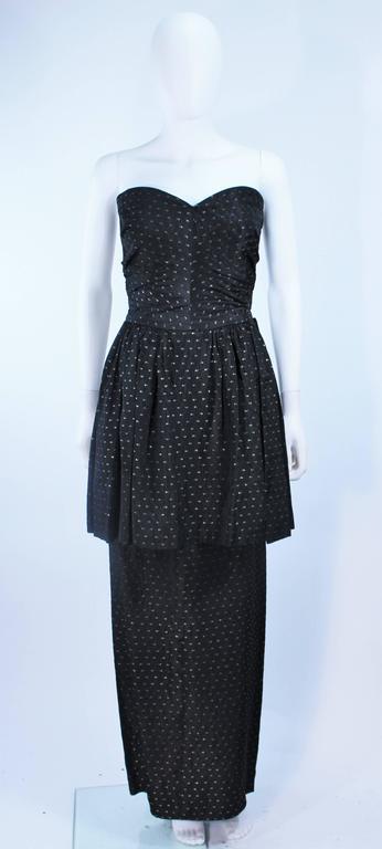 CEIL CHAPMAN Black & Gold Metallic Gown with Peplum Size 2 4 9