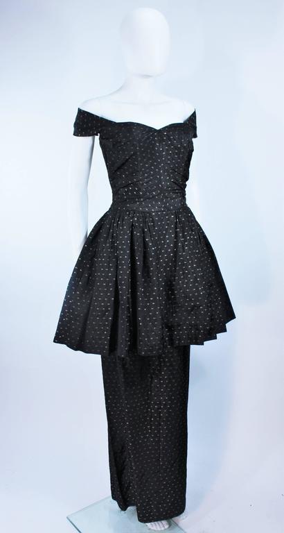 CEIL CHAPMAN Black & Gold Metallic Gown with Peplum Size 2 4 5