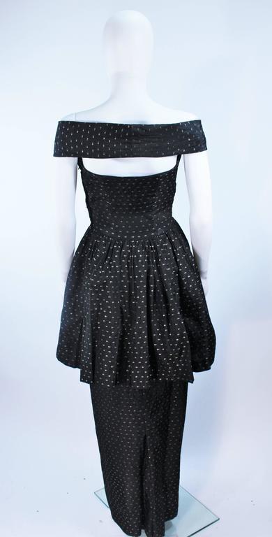 CEIL CHAPMAN Black & Gold Metallic Gown with Peplum Size 2 4 8