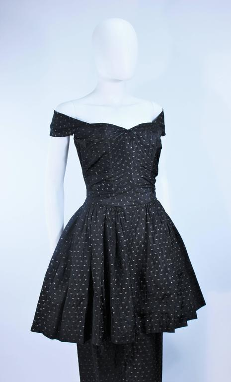 CEIL CHAPMAN Black & Gold Metallic Gown with Peplum Size 2 4 6