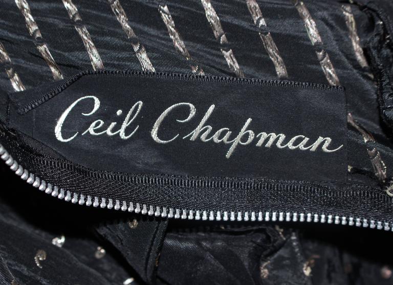CEIL CHAPMAN Black & Gold Metallic Gown with Peplum Size 2 4 10