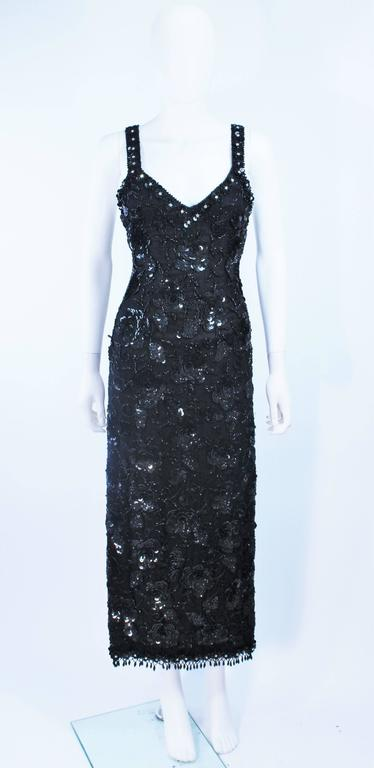Vintage 1950's Black Floral Beaded Gown Size 8 2