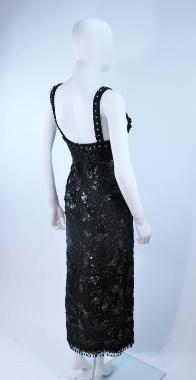 Vintage 1950's Black Floral Beaded Gown Size 8 9