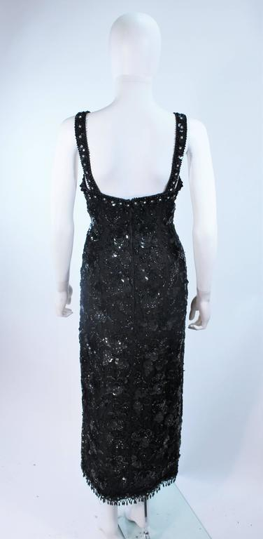Vintage 1950's Black Floral Beaded Gown Size 8 10