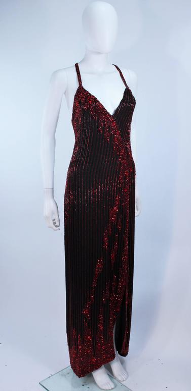BOB MACKIE Red and Black Beaded Gown Size 8 5