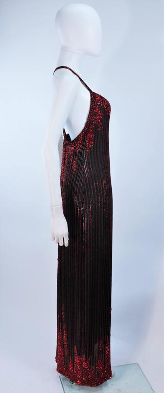 BOB MACKIE Red and Black Beaded Gown Size 8 7