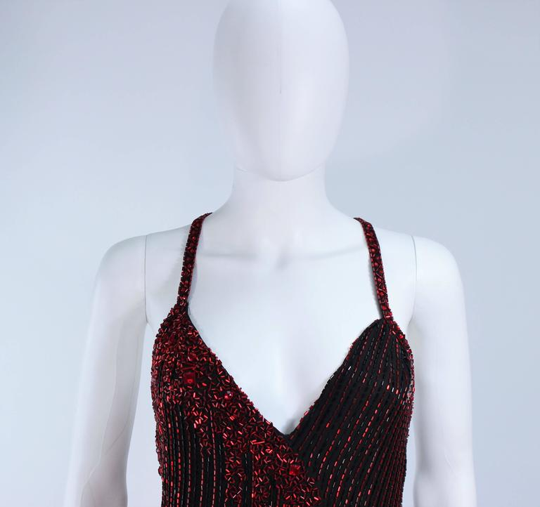 BOB MACKIE Red and Black Beaded Gown Size 8 4