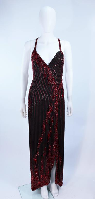 BOB MACKIE Red and Black Beaded Gown Size 8 2