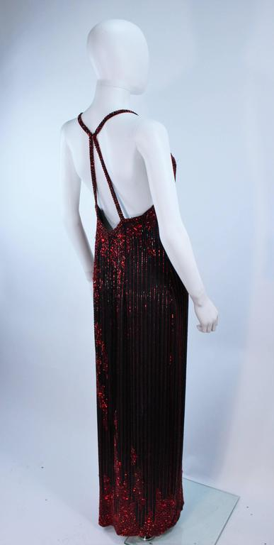 BOB MACKIE Red and Black Beaded Gown Size 8 8