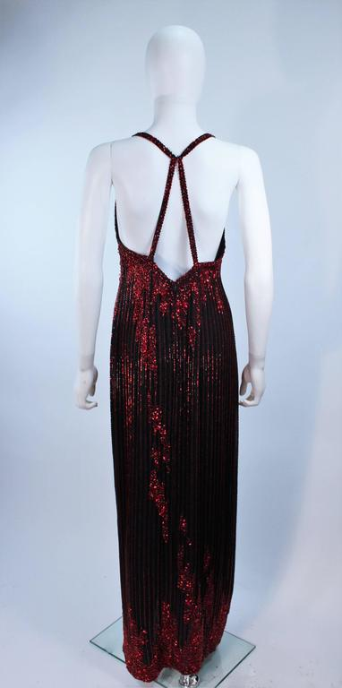 BOB MACKIE Red and Black Beaded Gown Size 8 9