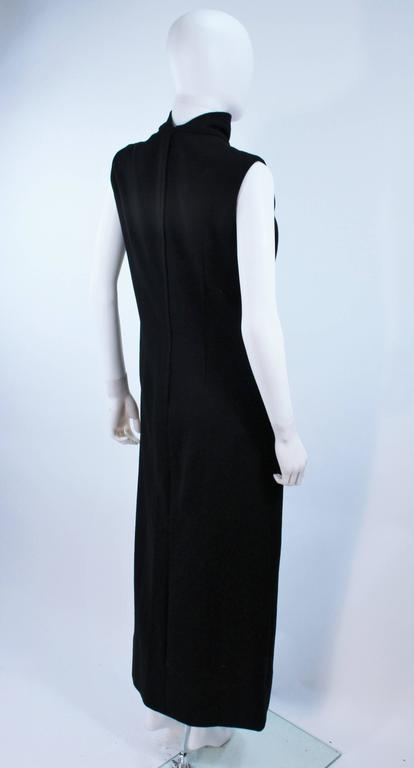 MR. BLACKWELL Wool Turtleneck Gown with Sequin Rose Applique Size 10 8
