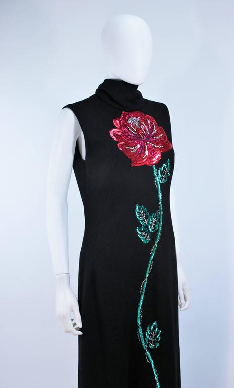 MR. BLACKWELL Wool Turtleneck Gown with Sequin Rose Applique Size 10 6
