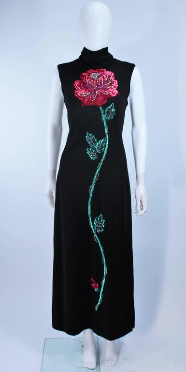 MR. BLACKWELL Wool Turtleneck Gown with Sequin Rose Applique Size 10 2
