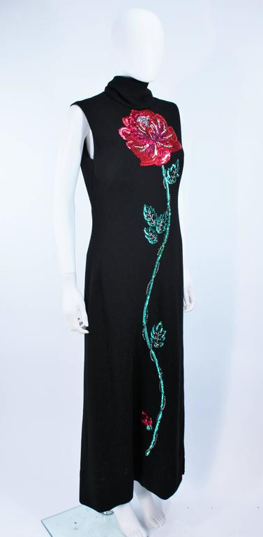 MR. BLACKWELL Wool Turtleneck Gown with Sequin Rose Applique Size 10 5