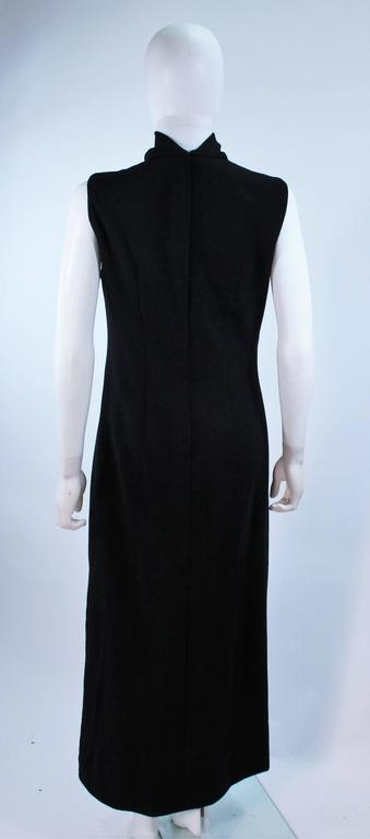 MR. BLACKWELL Wool Turtleneck Gown with Sequin Rose Applique Size 10 9