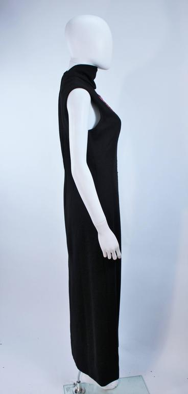 MR. BLACKWELL Wool Turtleneck Gown with Sequin Rose Applique Size 10 7