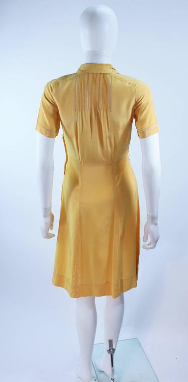 Vintage 1940's Yellow Silk Dress with Lace Inserts Size 2 For Sale 6