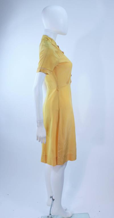 Vintage 1940's Yellow Silk Dress with Lace Inserts Size 2 For Sale 4