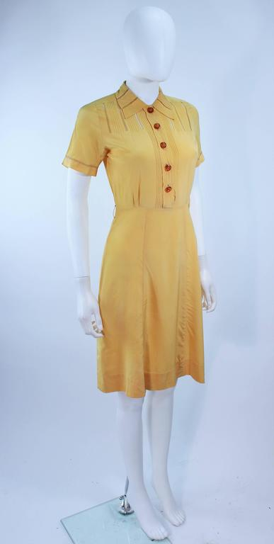 Vintage 1940's Yellow Silk Dress with Lace Inserts Size 2 For Sale 1