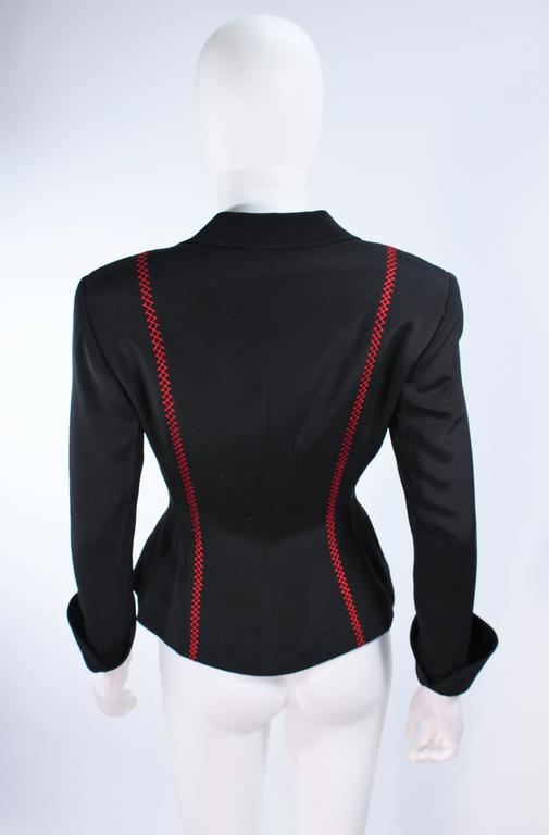 RICHARD TYLER Black and Red Fitted Jacket with Floral Pattern Size 2 4 For Sale 4