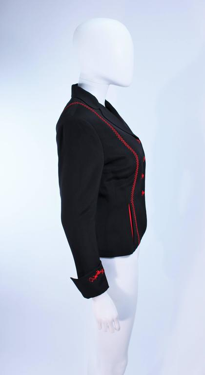 RICHARD TYLER Black and Red Fitted Jacket with Floral Pattern Size 2 4 For Sale 2