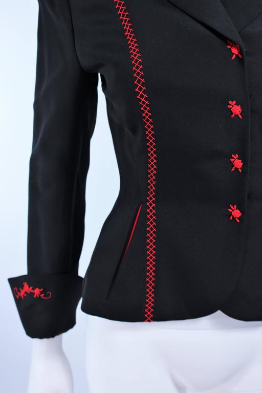 Women's RICHARD TYLER Black and Red Fitted Jacket with Floral Pattern Size 2 4 For Sale