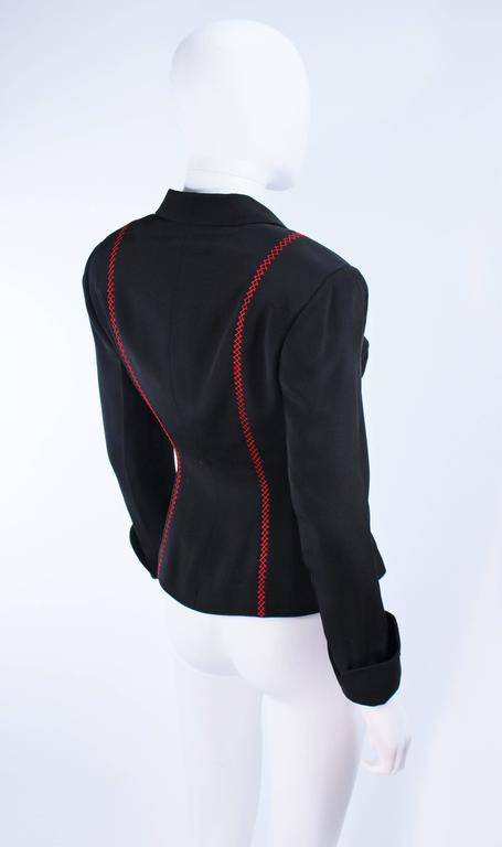 RICHARD TYLER Black and Red Fitted Jacket with Floral Pattern Size 2 4 For Sale 3