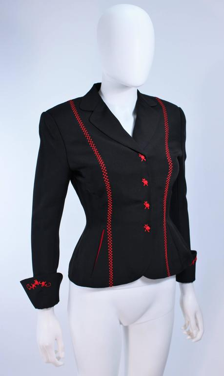 RICHARD TYLER Black and Red Fitted Jacket with Floral Pattern Size 2 4 For Sale 1