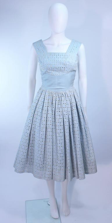 Vintage 1950 S Blue And White Eyelet Dress Size 2 For Sale