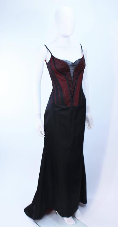 Women's RICHARD TYLER Silk Corset Gown with Red Accents Size 12 14 For Sale