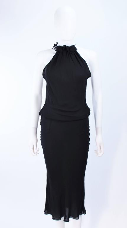 UNGARO FEVER Black Silk Chiffon Bias Cut Halter Dress with Ruffle Size 42 In Excellent Condition For Sale In Los Angeles, CA