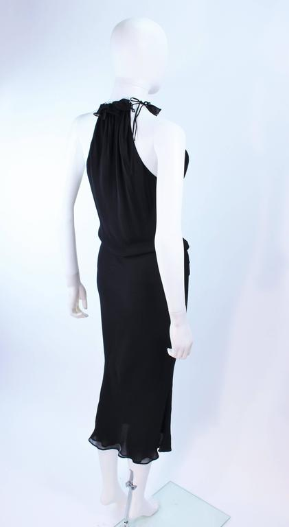 UNGARO FEVER Black Silk Chiffon Bias Cut Halter Dress with Ruffle Size 42 For Sale 4