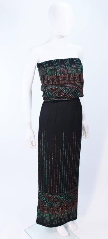 Custom 1970's Black Three Piece Sequin Applique Pantsuit Ensemble Size 0 For Sale 1