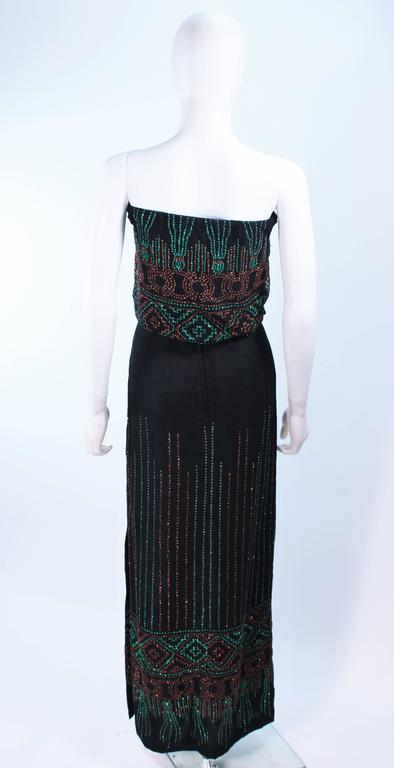 Custom 1970's Black Three Piece Sequin Applique Pantsuit Ensemble Size 0 For Sale 2