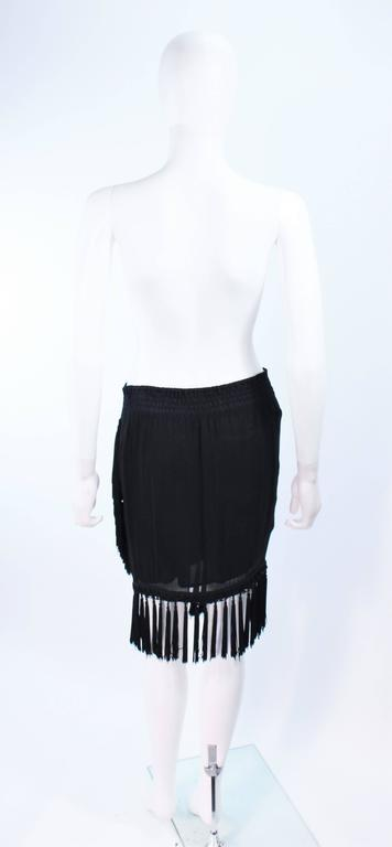 DIANE FREZ Black Chiffon Wrap Skirt with Tassels Size 4 6 8