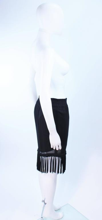 DIANE FREZ Black Chiffon Wrap Skirt with Tassels Size 4 6 7