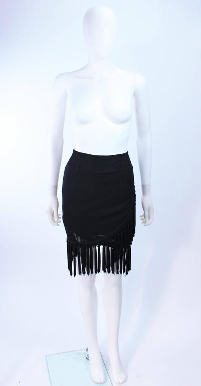 DIANE FREZ Black Chiffon Wrap Skirt with Tassels Size 4 6 4