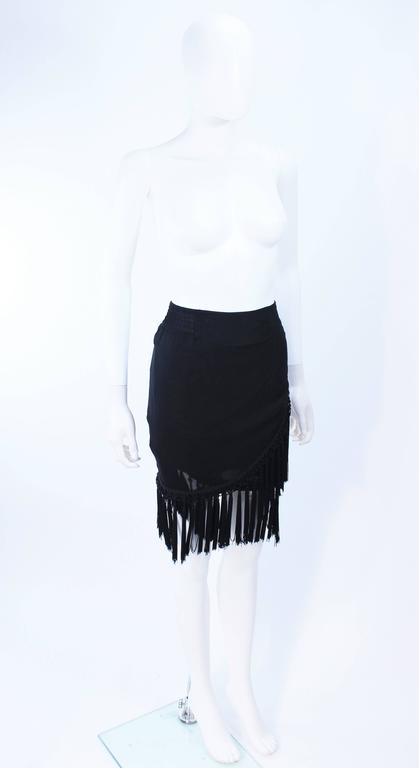 DIANE FREZ Black Chiffon Wrap Skirt with Tassels Size 4 6 5